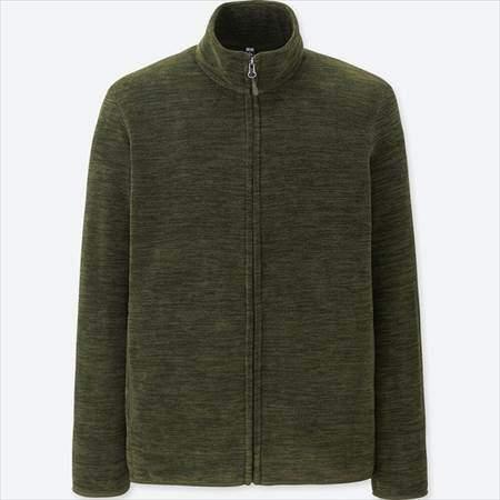 ユニクロのフリースフルジップジャケット(長袖)の杢カラーのオリーブ