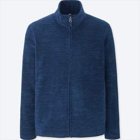 ユニクロのフリースフルジップジャケット(長袖)の杢カラーのブルー