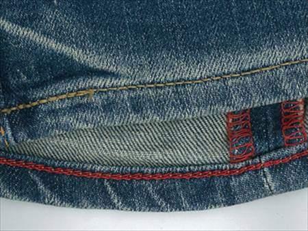 チェーンステッチでジーンズの裾直しをしたときの見本
