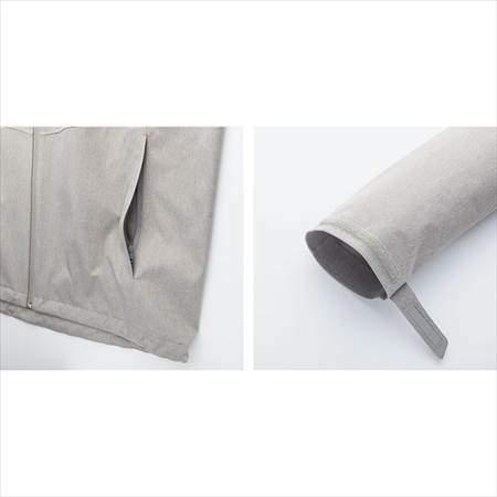 ユニクロのブロックテックパーカーのポケットと裾部分