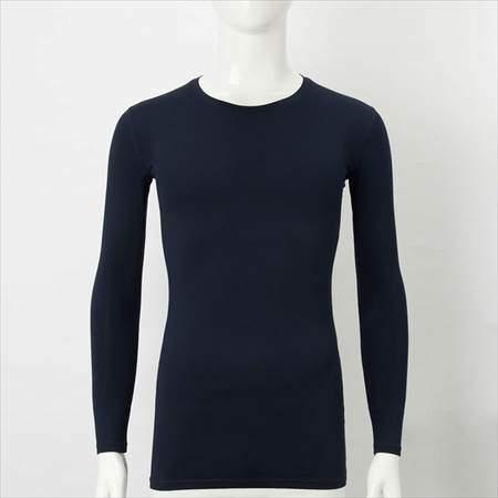 ユニクロのエアリズムパフォーマンスサポートTシャツ(長袖)のネイビー