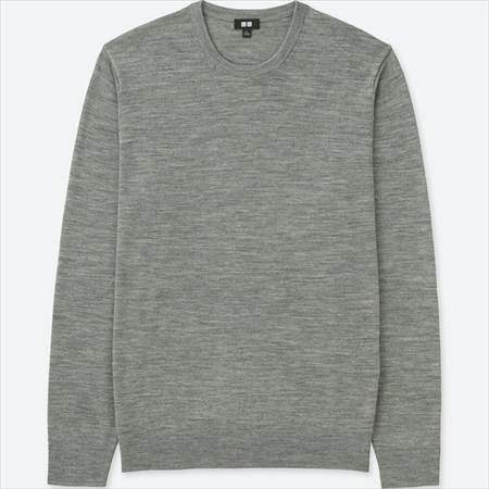 ユニクロのエクストラファインメリノクルーネックセーターのグレー