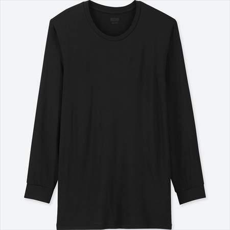 ユニクロのヒートテッククルーネックT(9分袖)のブラック