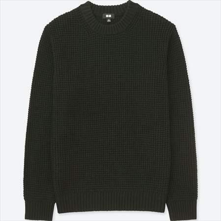 ユニクロのワッフルクルーネックセーター(長袖)のブラック