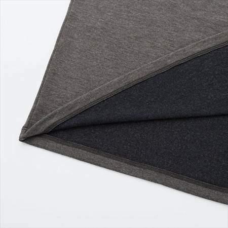 ユニクロのヒートテックエクストラウォームタートル(9分袖・極暖)の裾部分の表地と裏地のアップ