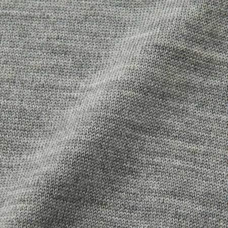 ユニクロのエクストラファインメリノクルーネックセーターの生地のアップ