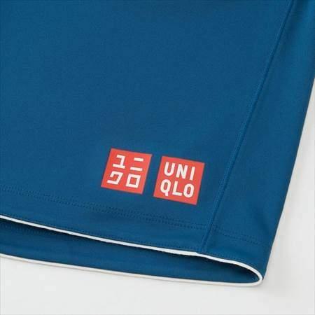 ユニクロのRFドライショートパンツ19AUSのブルーの裾のロゴ