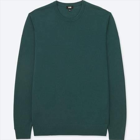 ユニクロのエクストラファインメリノクルーネックセーターのグリーン