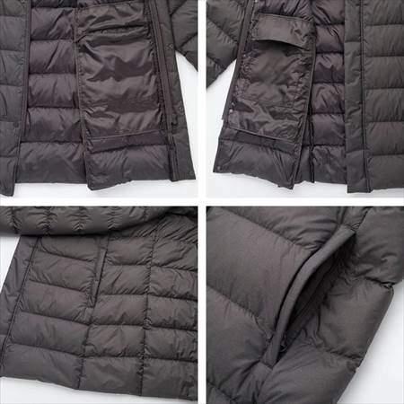 ユニクロのウルトラライトダウンハーフコートの内側のポケットと外側のポケットを並べて比較した写真