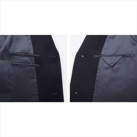 ユニクロのウールカシミヤチェスターコートの裏側の左右のポケットのアップ