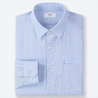 ユニクロのプレミアムリネンシャツ(長袖)の61ブルー