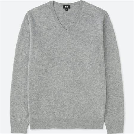 ユニクロのカシミヤVネックセーターのグレー