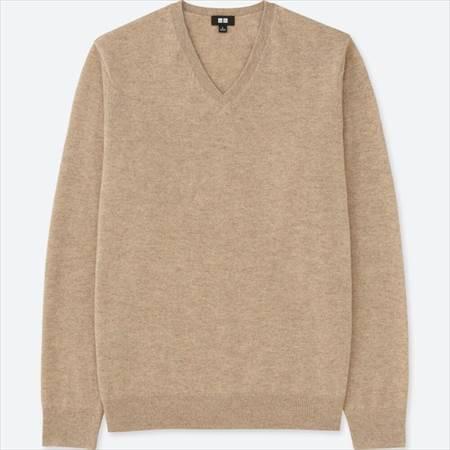 ユニクロのカシミヤVネックセーター
