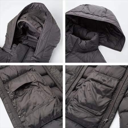 ユニクロのウルトラライトダウンコートのフードが取り外せる様子と内側ポケットのファスナーで閉まる様子