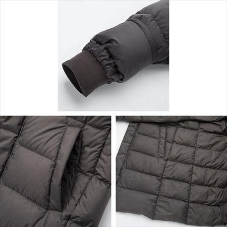 ユニクロのウルトラライトダウンコートの袖口とサイドポケットのアップ