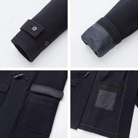 ユニクロのウールブレンドダッフルコートの袖口のタブ裏やポケット地の補強布のアップ
