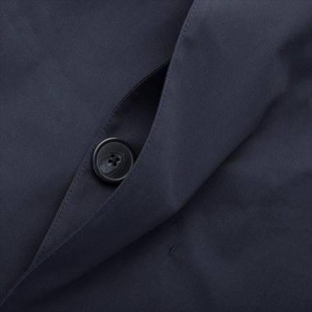 ユニクロのブロックテックステンカラーコートのフロントのボタンのアップ
