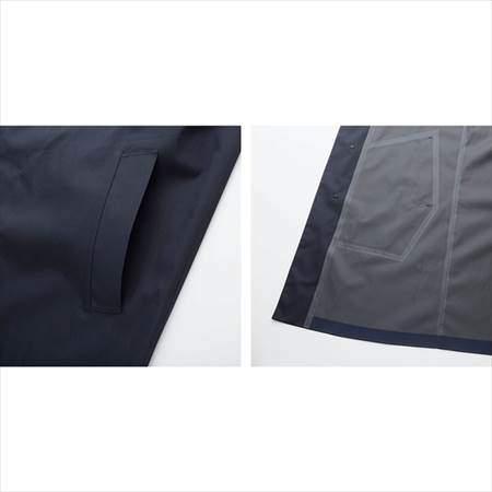ユニクロのブロックテックステンカラーコートのサイドポケットと裏地