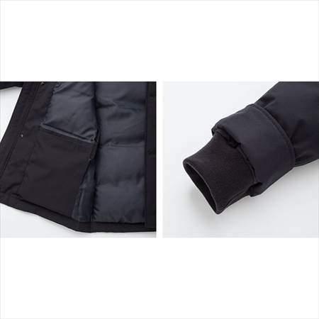 ユニクロのノンキルトダウンジャケットの内側ポケットと裾のリブのアップ