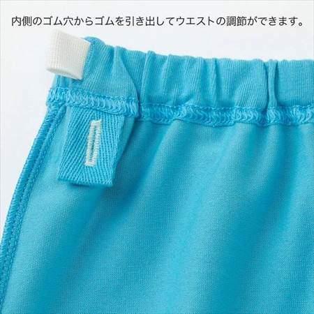 ユニクロのムーミンパジャマのブルー(80-110サイズ)のパンツのウエスト調整のゴム