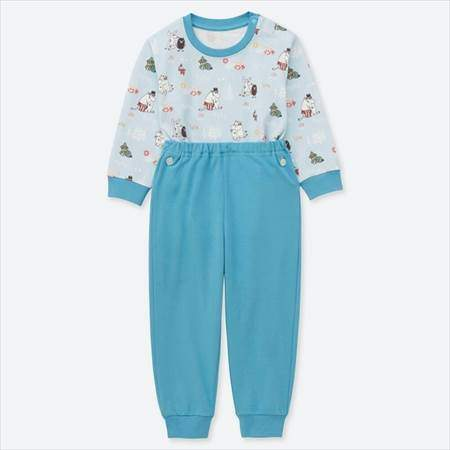ユニクロのムーミンパジャマのブルー(80-110サイズ)