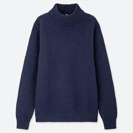 ユニクロのミドルゲージモックネックセーターのブルー