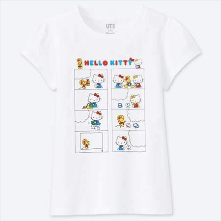 ユニクロのGIRLS サンリオキャラクターズグラフィックT(半袖)のホワイト
