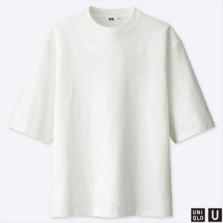 ユニクロUのオーバーサイズハーフスリーブTシャツのホワイト