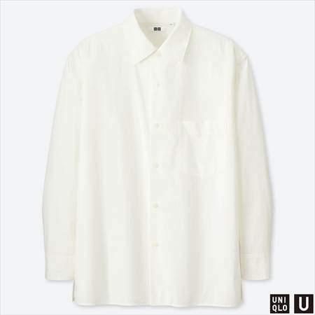 ユニクロUのワイドフィットシャツ(長袖)のホワイト