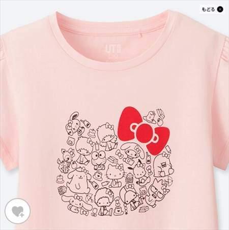 GIRLS サンリオキャラクターズグラフィックT(半袖)のピンク