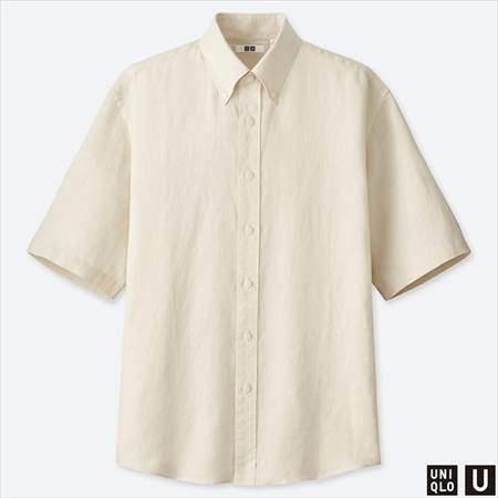 ユニクロUのプレミアムリネンワイドフィットシャツ(半袖)のオフホワイト