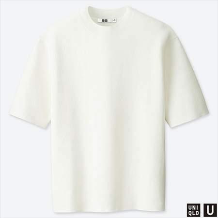 ユニクロUのミラノリブクルーネックセーター(半袖)のオフホワイト