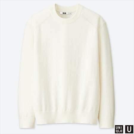 ユニクロUのコットンカシミヤクルーネックセーター(長袖)のオフホワイト