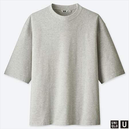 ユニクロUのオーバーサイズハーフスリーブTシャツのグレー