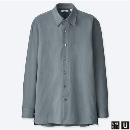 ユニクロUのスーピマコットンジャージーシャツ(長袖)のグレー