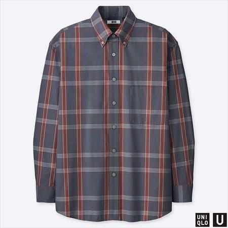 ユニクロUのワイドフィットチェックシャツ(長袖)のグレー