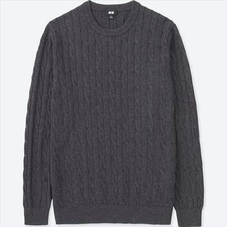 ユニクロのコットンカシミヤケーブルクルーネックセーター(長袖)のグレー
