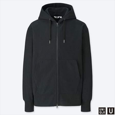 ユニクロUのスウェットフルジップパーカ(長袖)のブラック