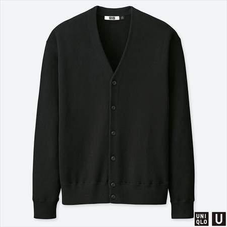 ユニクロUのコットンブレンドVネックカーディガン(長袖)のブラック