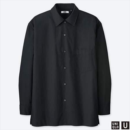 ユニクロUのワイドフィットシャツ(長袖)のブラック