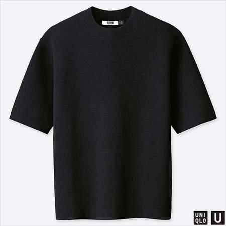 ユニクロUのミラノリブクルーネックセーター(半袖)のブラック