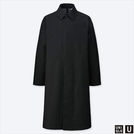 ユニクロUのブロックテックステンカラーコートのブラック