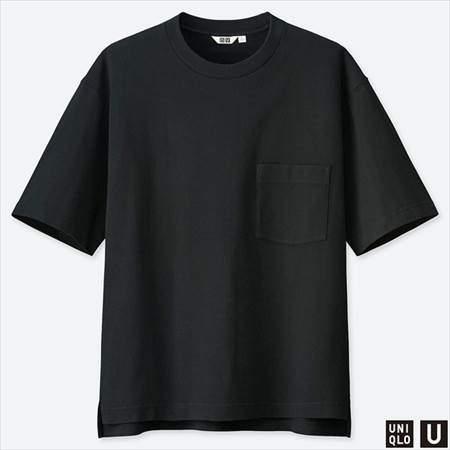 ユニクロUのオーバーサイズクルーネックT(半袖)のブラック