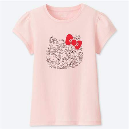 ユニクロのGIRLS サンリオキャラクターズグラフィックT(半袖)のピンク
