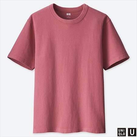 ユニクロUのクルーネックT(半袖)のピンク