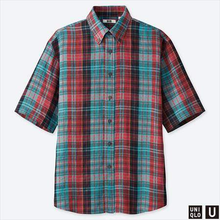ユニクロUのプレミアムリネンワイドフィットチェックシャツ(半袖)のレッド