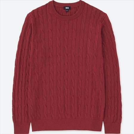 ユニクロのコットンカシミヤケーブルクルーネックセーター(長袖)のレッド