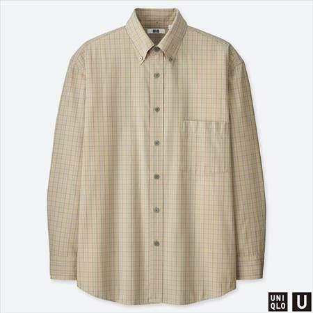 ユニクロUのワイドフィットチェックシャツ(長袖)のベージュ