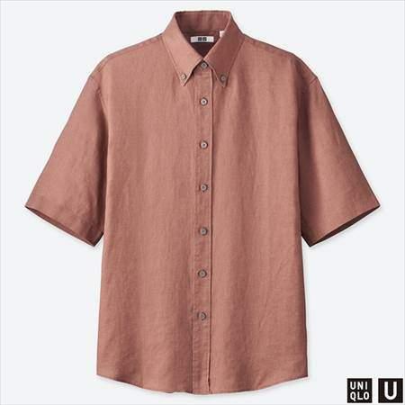 ユニクロUのプレミアムリネンワイドフィットシャツ(半袖)のブラウン