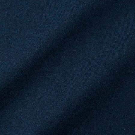 ユニクロUのクルーネックT(長袖)のネイビーの生地のアップ